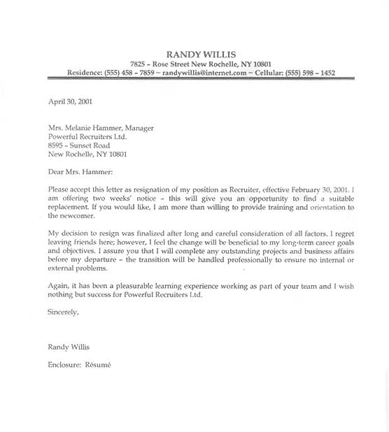 Letter Sample  Letter Of Resignation Examples Format